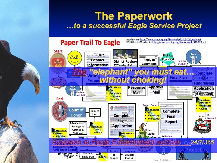 """The Paperwork …to a successful Eagle Service Project The """"elephant"""" you must eat… without"""