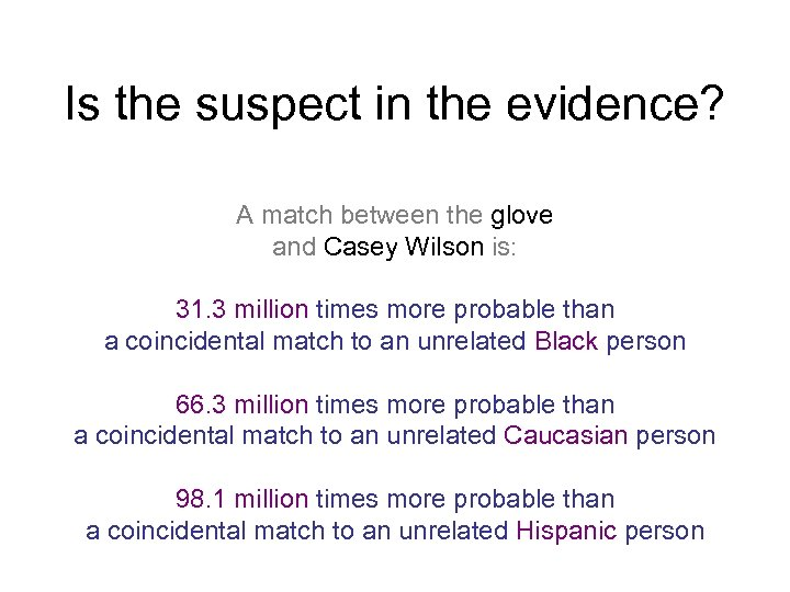 Is the suspect in the evidence? A match between the glove and Casey Wilson