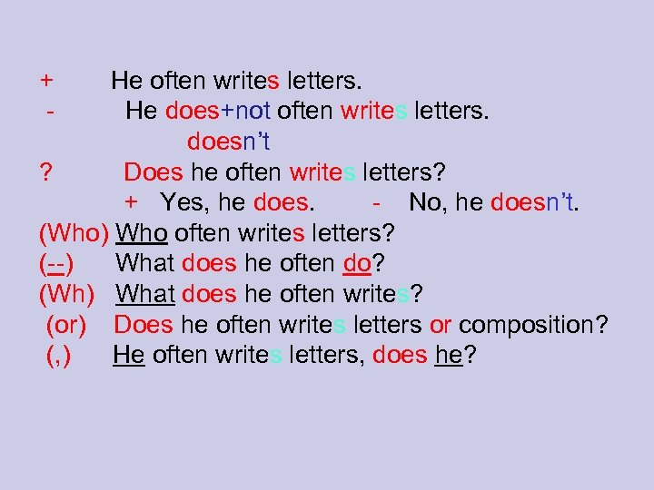 + - He often writes letters. He does+not often writes letters. doesn't ? Does