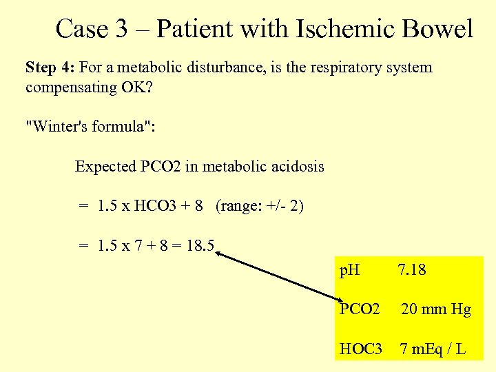 Case 3 – Patient with Ischemic Bowel Step 4: For a metabolic disturbance, is
