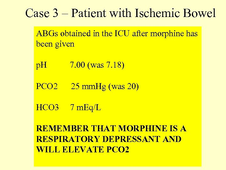 Case 3 – Patient with Ischemic Bowel ABGs obtained in the ICU after morphine