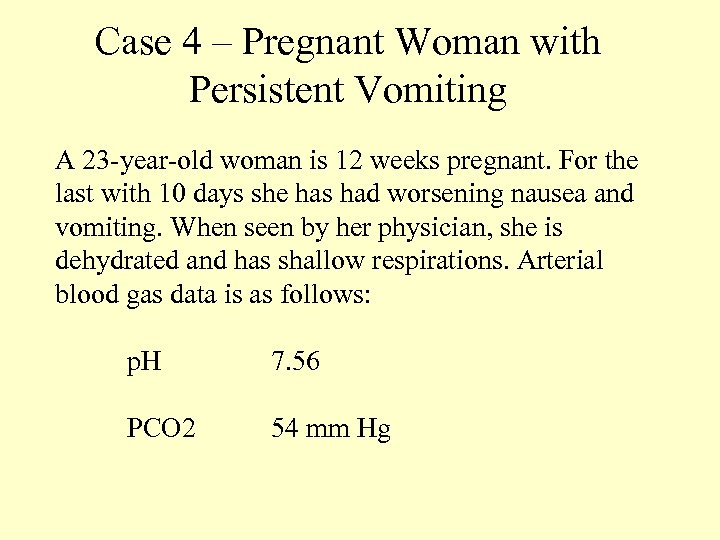 Case 4 – Pregnant Woman with Persistent Vomiting A 23 -year-old woman is 12