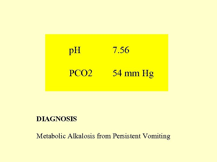 p. H 7. 56 PCO 2 54 mm Hg DIAGNOSIS Metabolic Alkalosis from