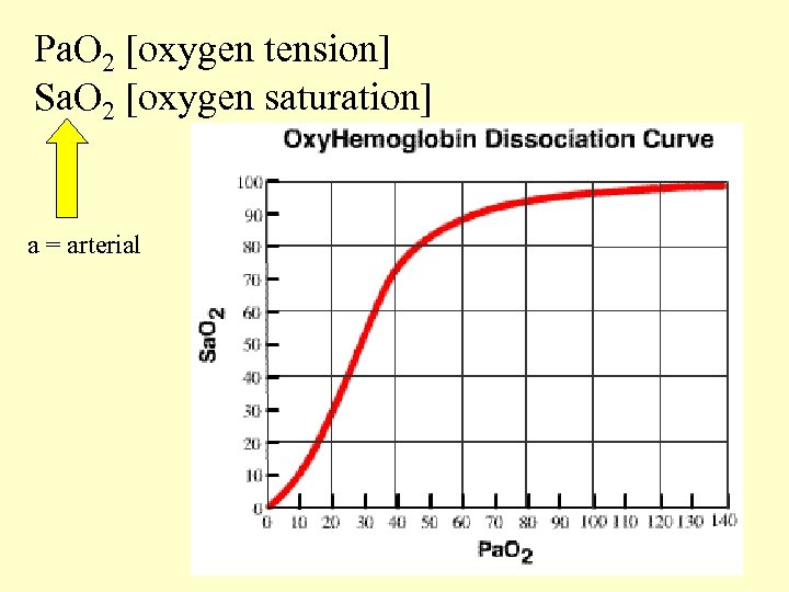 Pa. O 2 [oxygen tension] Sa. O 2 [oxygen saturation] a = arterial