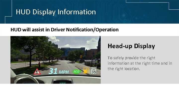 HUD Display Information HUD will assist in Driver Notification/Operation Head-up Display To safely provide