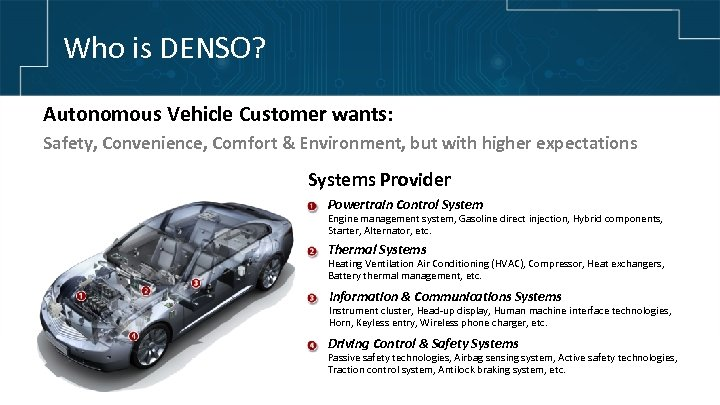 Who is DENSO? Global Supplier of Advanced Automotive Technology, Systems Autonomous Vehicle Customer wants: