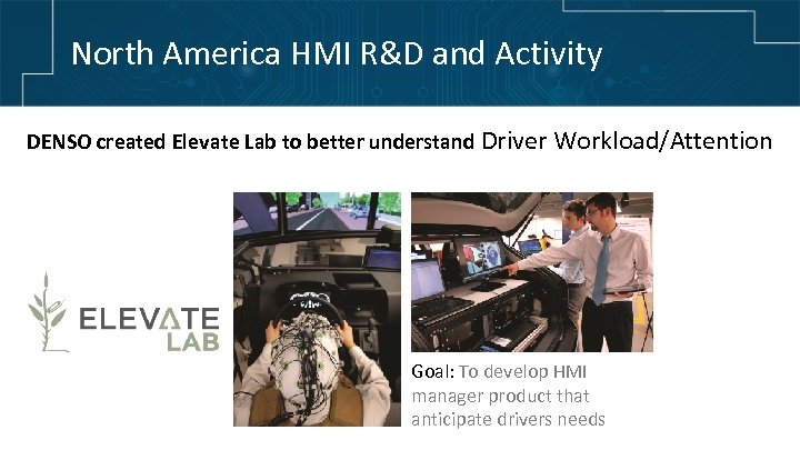 North America HMI R&D and Activity DENSO created Elevate Lab to better understand Driver