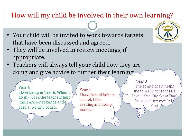 How will my child be involved in their own learning? • Your child will