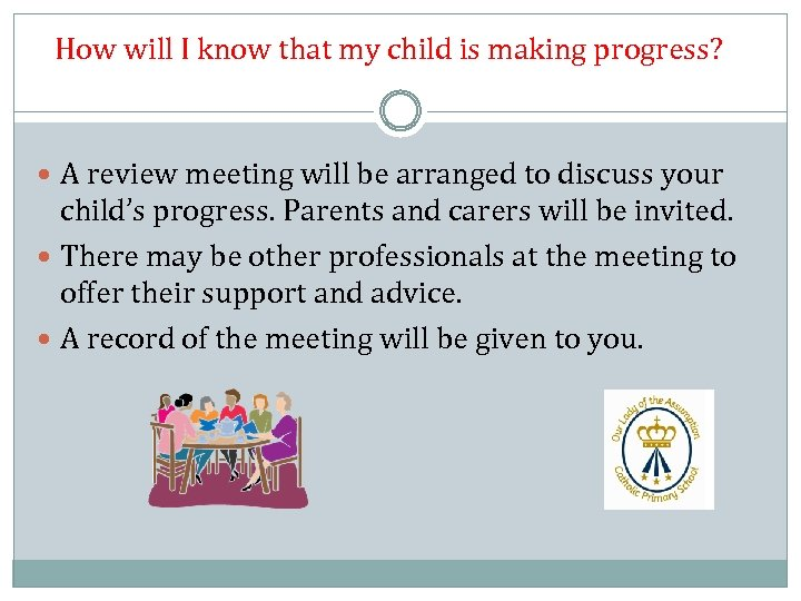 How will I know that my child is making progress? A review meeting will