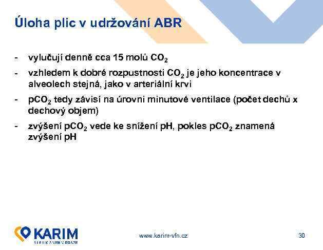 Úloha plic v udržování ABR - vylučují denně cca 15 molů CO 2 -