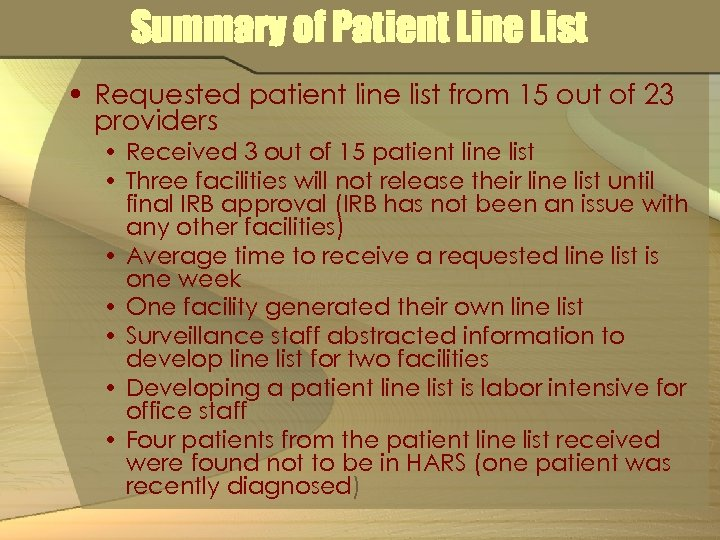 Summary of Patient Line List • Requested patient line list from 15 out of