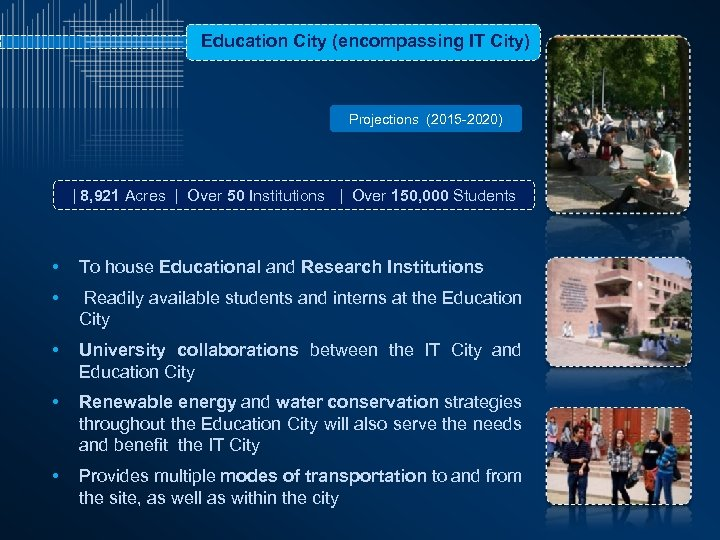 Education City (encompassing IT City) Projections (2015 -2020) | 8, 921 Acres | Over