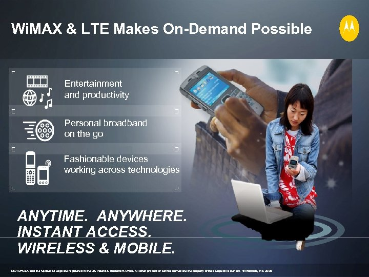 Wi. MAX & LTE Makes On-Demand Possible Entertainment and productivity Personal broadband on the