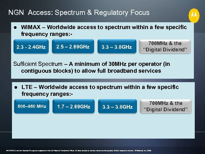 NGN Access: Spectrum & Regulatory Focus ● Wi. MAX – Worldwide access to spectrum