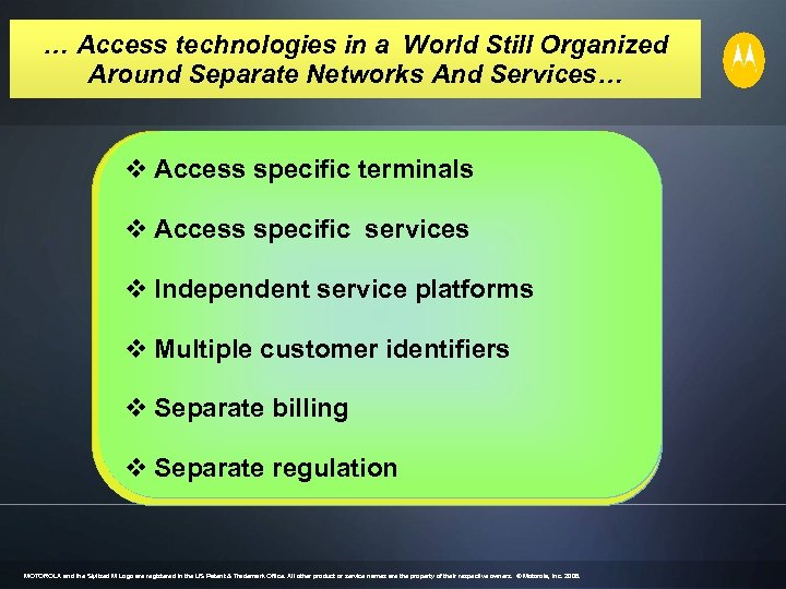 … Access technologies in a World Still Organized Around Separate Networks And Services… Fixed