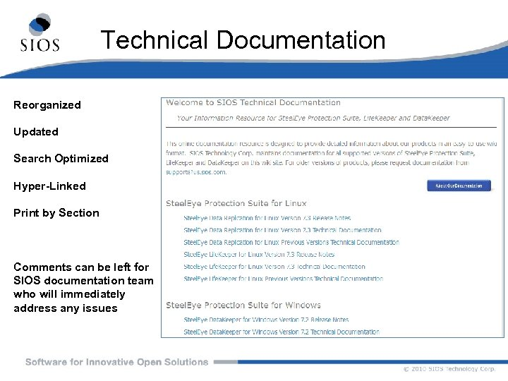 Technical Documentation Reorganized Updated Search Optimized Hyper-Linked Print by Section Comments can be left