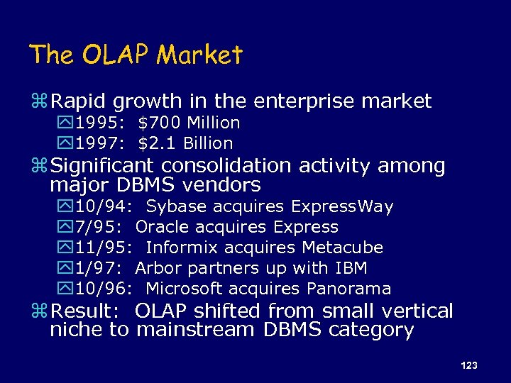The OLAP Market z Rapid growth in the enterprise market y 1995: $700 Million