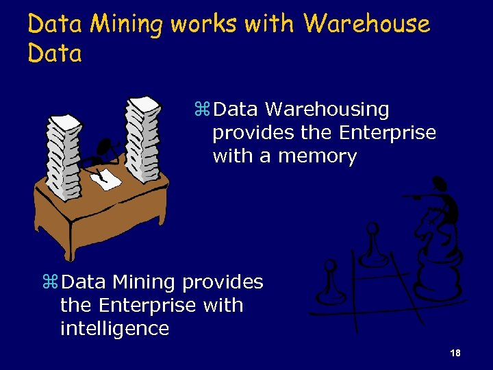 Data Mining works with Warehouse Data z Data Warehousing provides the Enterprise with a