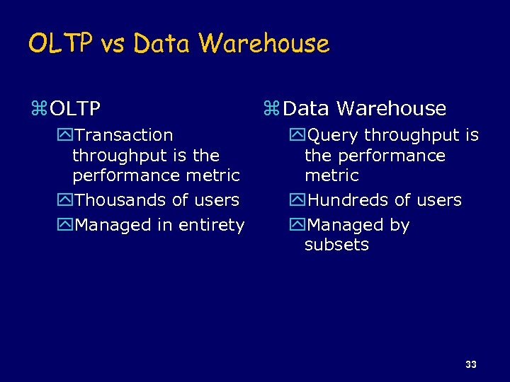 OLTP vs Data Warehouse z OLTP y. Transaction throughput is the performance metric y.
