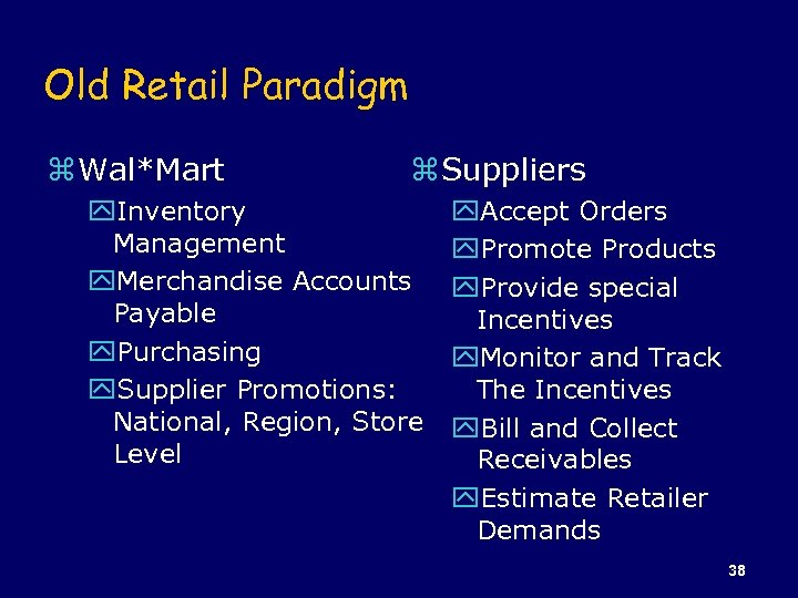 Old Retail Paradigm z Wal*Mart z Suppliers y. Inventory Management y. Merchandise Accounts Payable