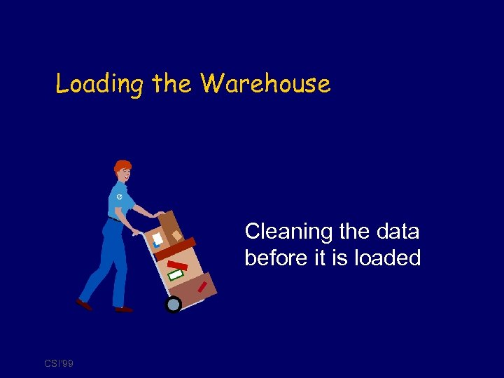 Loading the Warehouse Cleaning the data before it is loaded CSI'99