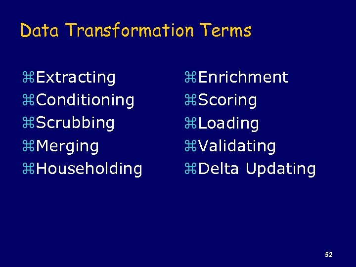Data Transformation Terms z. Extracting z. Conditioning z. Scrubbing z. Merging z. Householding z.