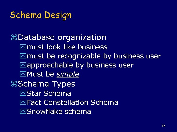 Schema Design z. Database organization ymust look like business ymust be recognizable by business