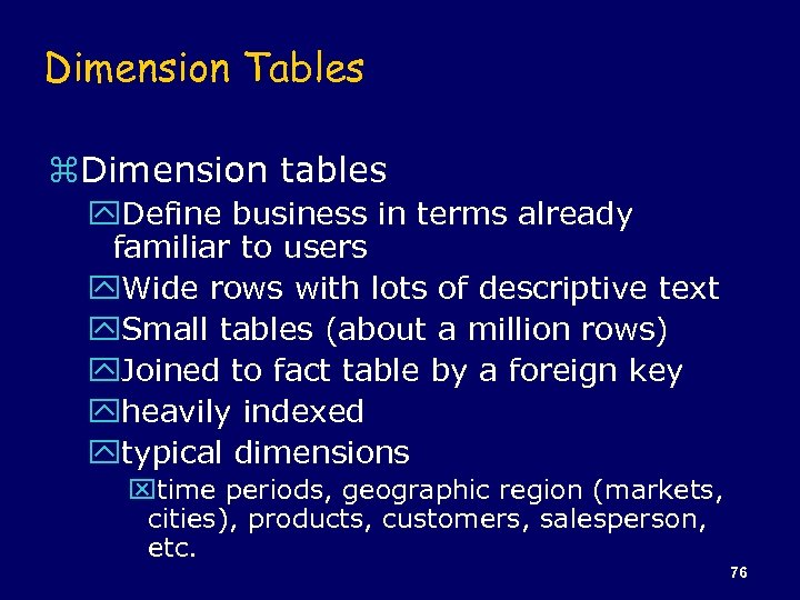 Dimension Tables z. Dimension tables y. Define business in terms already familiar to users