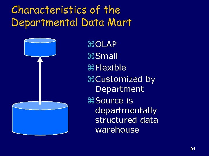 Characteristics of the Departmental Data Mart z OLAP z Small z Flexible z Customized