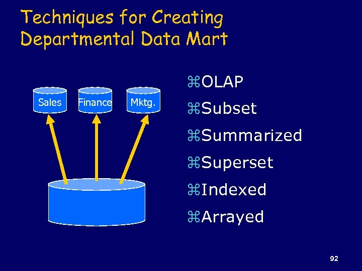 Techniques for Creating Departmental Data Mart z. OLAP Sales Finance Mktg. z. Subset z.