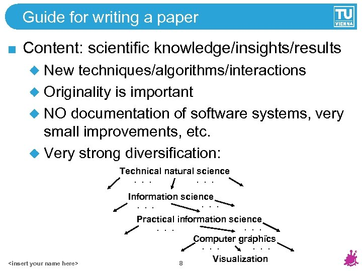 Guide for writing a paper Content: scientific knowledge/insights/results New techniques/algorithms/interactions Originality is important NO