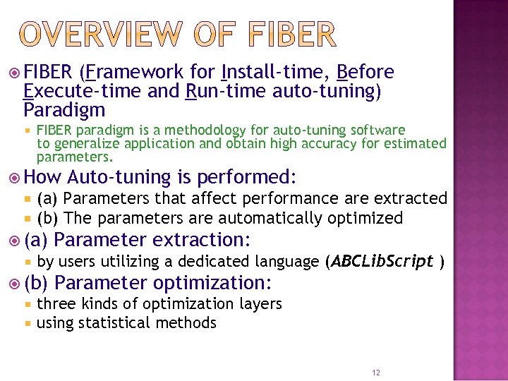 FIBER (Framework for Install-time, Before Execute-time and Run-time auto-tuning) Paradigm FIBER paradigm is