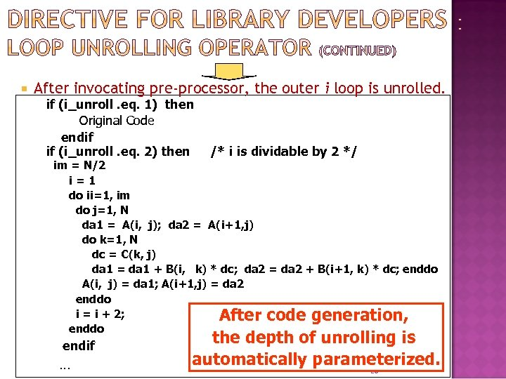 After invocating pre-processor, the outer i loop is unrolled. if (i_unroll. eq. 1)