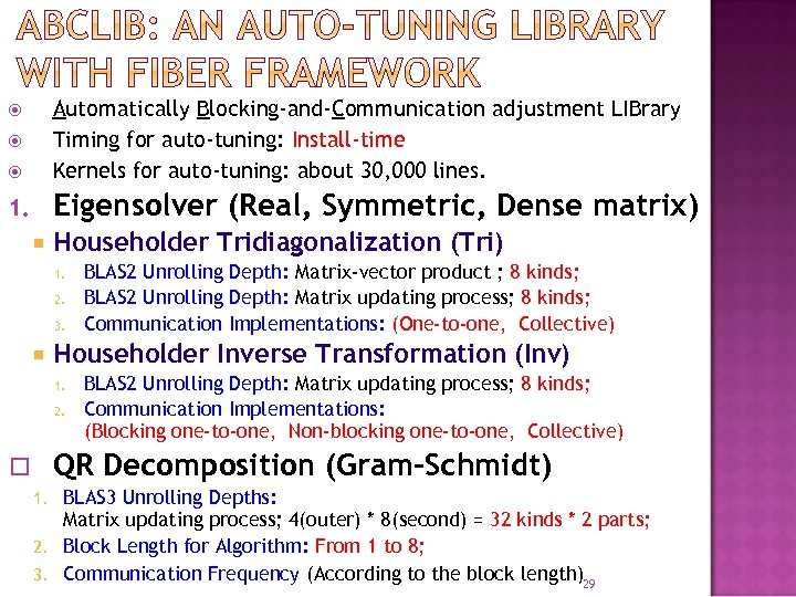 Automatically Blocking-and-Communication adjustment LIBrary Timing for auto-tuning: Install-time Kernels for auto-tuning: about 30,