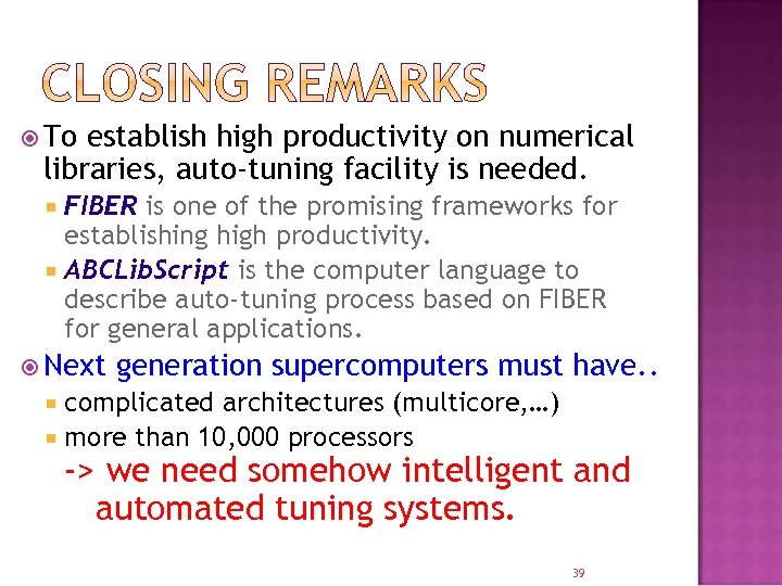 To establish high productivity on numerical libraries, auto-tuning facility is needed. FIBER is