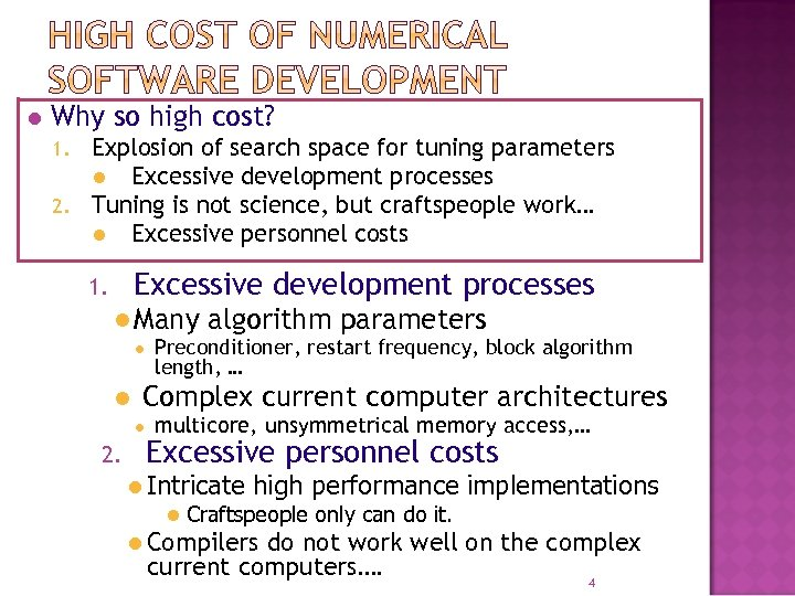 l Why so high cost? Explosion of search space for tuning parameters l Excessive