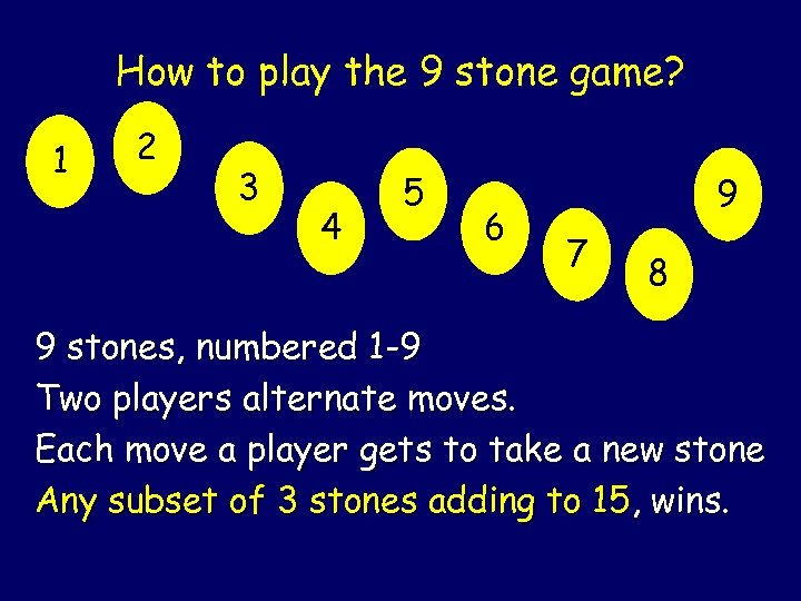 How to play the 9 stone game? 1 2 3 4 5 6 9