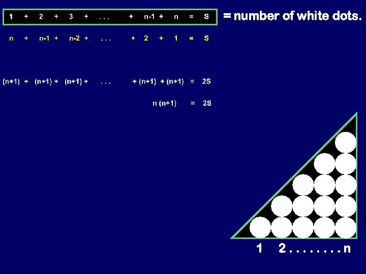 = number of white dots. 1 2. . . . n