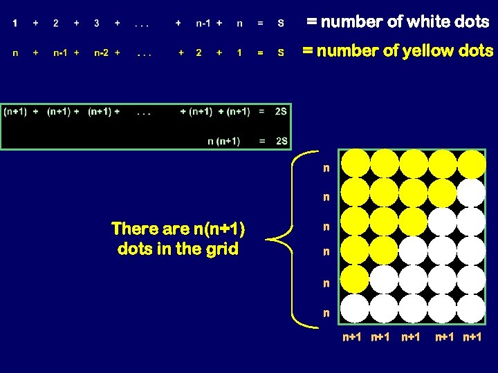 = number of white dots = number of yellow dots n n There are