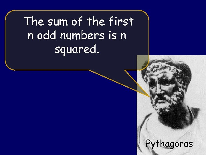 The sum of the first n odd numbers is n squared. Pythagoras