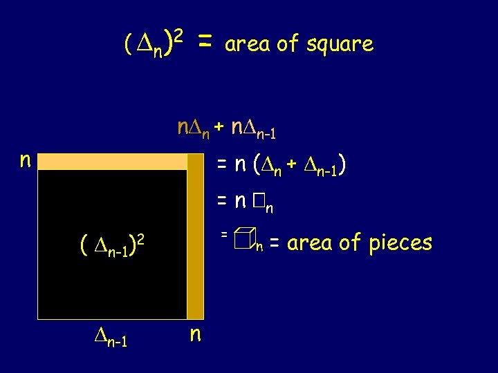 ( n )2 = area of square n n + n n-1 n =