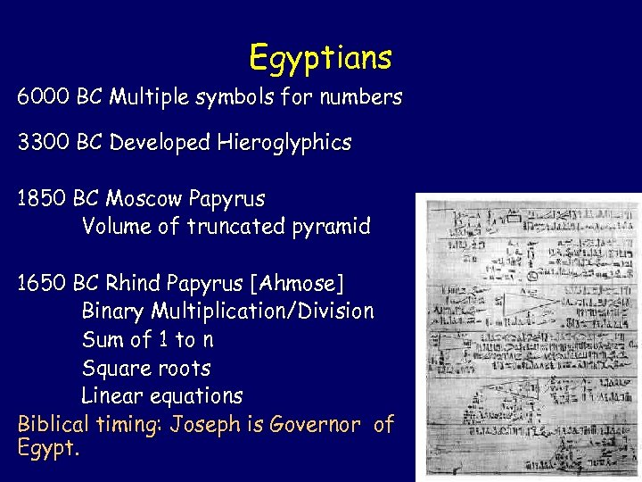 Egyptians 6000 BC Multiple symbols for numbers 3300 BC Developed Hieroglyphics 1850 BC Moscow