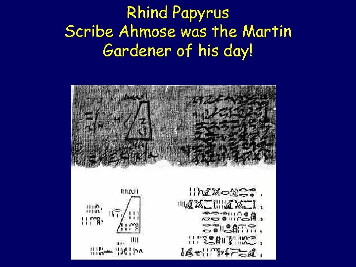 Rhind Papyrus Scribe Ahmose was the Martin Gardener of his day!