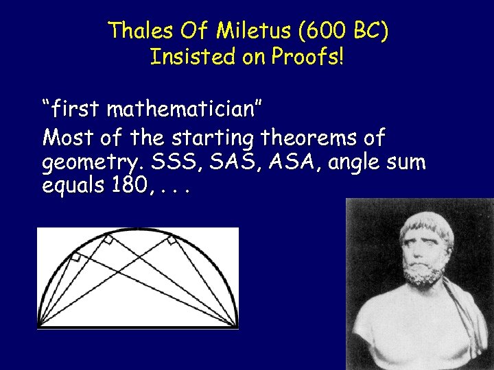"Thales Of Miletus (600 BC) Insisted on Proofs! ""first mathematician"" Most of the starting"