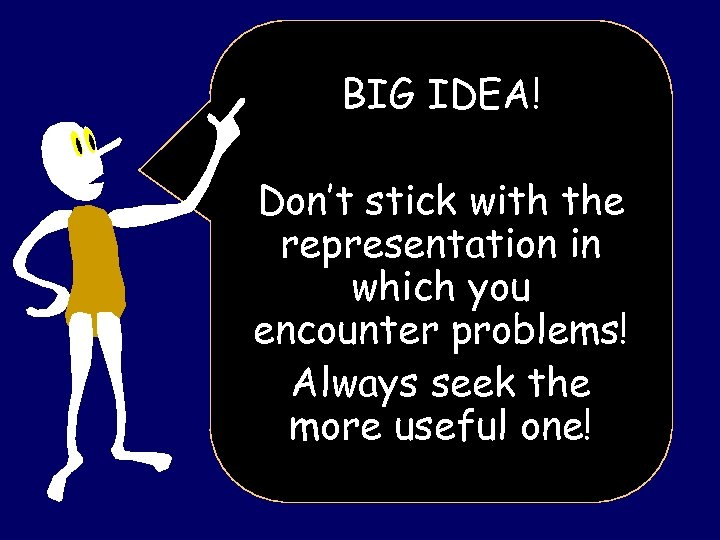 BIG IDEA! Don't stick with the representation in which you encounter problems! Always seek