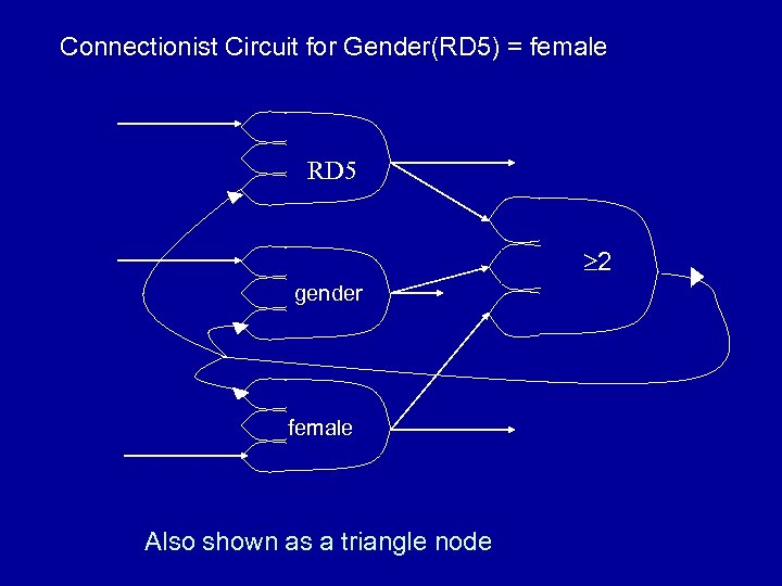 Connectionist Circuit for Gender(RD 5) = female RD 5 2 gender female Also shown