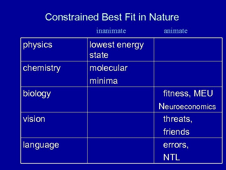 Constrained Best Fit in Nature inanimate physics chemistry biology vision language animate lowest energy