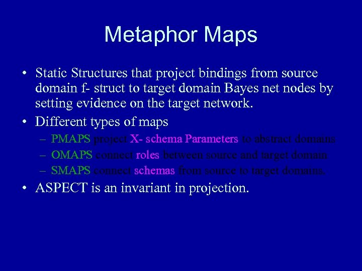 Metaphor Maps • Static Structures that project bindings from source domain f- struct to
