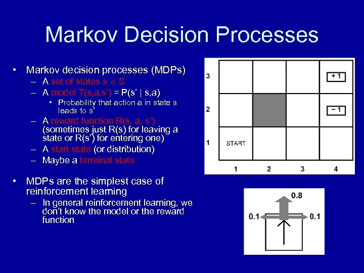 Markov Decision Processes • Markov decision processes (MDPs) – A set of states s