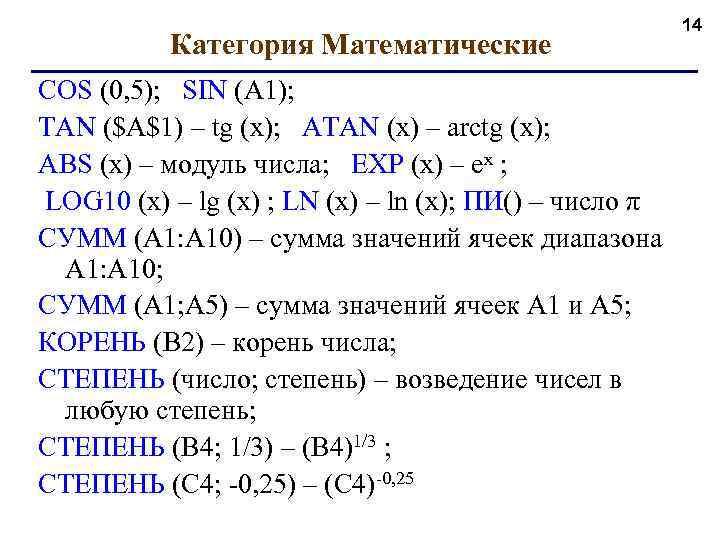 Категория Математические COS (0, 5); SIN (A 1); TAN ($A$1) – tg (x); ATAN